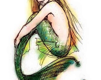Green Mermaid, Greeting Card by Renae Taylor
