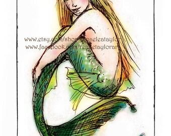 Green Mermaid, Post Card by Renae Taylor