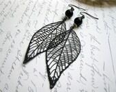 Long leaf earrings, black metal leaves, long dangle earrings, mod, nature jewelry
