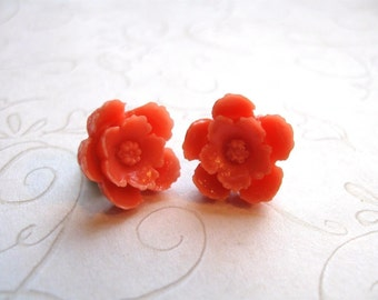 Orange flower earrings  - gold plated - post style - nature jewelry