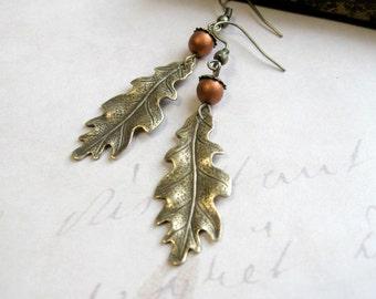Oak leaf earrings brass acorns brass leaves nature jewelry