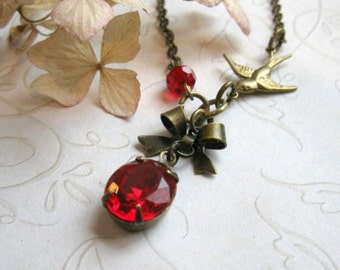Red jewel necklace, vintage estate jewel, womens gift, bow charm, Christmas gift