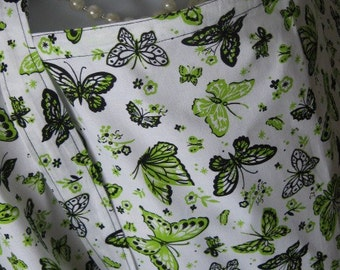 Breastfeeding Cover Up Nursing Cover with pocket - Lime Butterfly - green and white