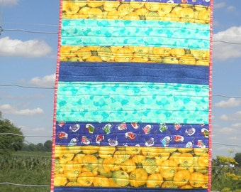 Heirloom Baby Quilt, Blanket, Throw- Eclectic Mix of Blue Tennis Shoes, Yellow Summer Squash and Teal Bubbles