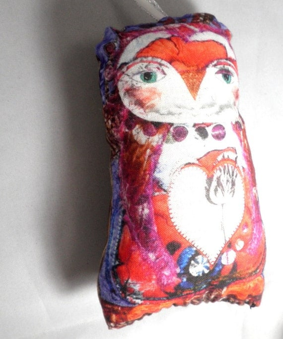 Stuffed Art Owl Ornament - Owl Be Yours - Fabric Art, Worry Doll