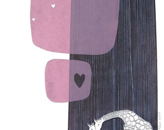 giraffe silkscreened print