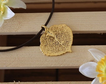 Leaf Necklace Gold, Real Leaf, Leaf Pendant, Aspen Leaf, 24kt Gold Pendant, 1