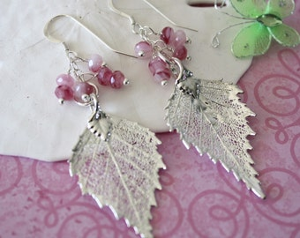 Pink Leaf Earrings, Real Leaf Silver Earrings, Silver Birch Earrings