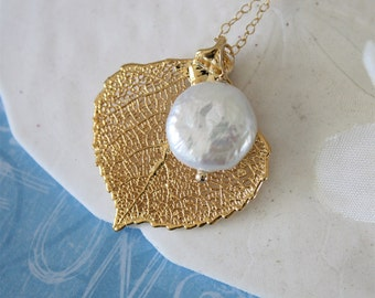 Real Leaf Pearl 24kt Gold Necklace