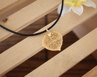 Leaf Necklace Gold, Real Leaf, Leaf Pendant, Aspen Leaf, 24kt Gold Pendant, LL162