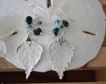 Silver Leaf Earrings Birch, Real Leaf Earrings, Sterling Silver, Blue Earrings, Leaf Earrings