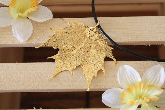 Leaf Necklace, Real Leaf, Leaf Pendant, Real Leaf Necklace Sugar Maple 24kt Gold Pendant, 3