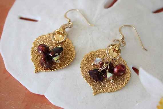 Gold Leaf Pearl Earrings, Aspen Earrings Gold, Real Leaf Earrings, Gold Aspen