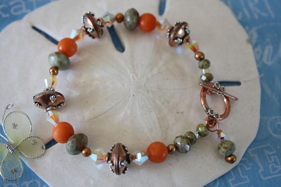 Autum Winter Crystal Sterling Silver & Copper Bracelet