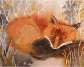 Red Fox Baby Nursery Art / Watercolor PRINT / Fox small animal art child / Cabin nature wildlife theme boys wall art Orange painting grey N