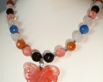 Pink Cherry Quartz Butterfly Faceted Mixed Gemstone Couture OOAK Necklace