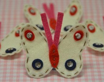Set of 6pcs handmade felt butterfly--ivory (FT593)