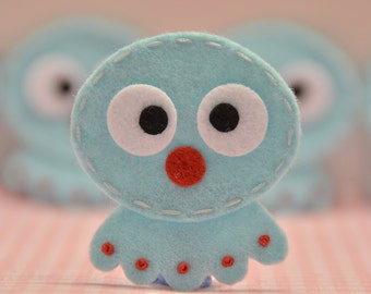 Set of 6pcs handmade felt octopus--blue (FT942)