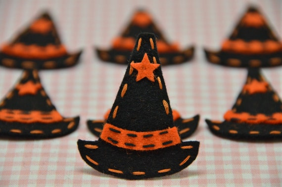 Set of 6pcs handmade Halloween Witches Hats--black/pumpkin (FT851)