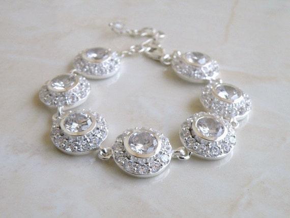 Bridal Bracelet CZ Rhinestone White Sterling CNB1