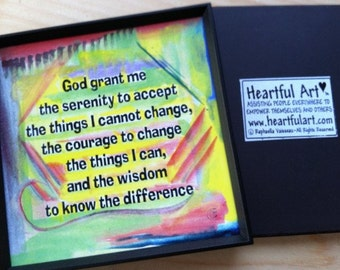 God Grant Me SERENITY PRAYER Magnet Inspirational AA Motivation Print Sobriety 12 step Friendship Support Heartful Art by Raphaella Vaisseau