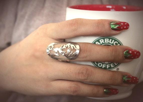 High Grade Stainless steel Deer Antler Adjustable Ring (FREE SHIPPING)