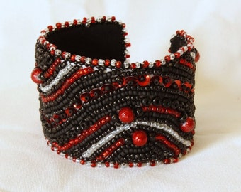 Red and Black Waves Bead Embroidered Cuff Bracelet