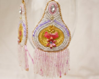 White Bead Embroidered Dangle Earrings