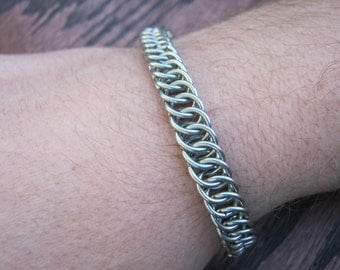 Chainmaille Stainless Steel Half Persian 4-1 Bracelet