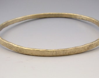 Urban Rustic Gold Forged Bangle 14 Karat Yellow Gold Solid Hammered Bracelet