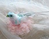 Marie-Antoinette Pastel bird on soft pink tulle lace flower nest, blossom clip. Light as a feather, very secure hairpin. Hair Fascinator