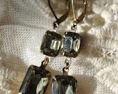 Black Diamond - rectangluar Vintage jewels set in vintage brass longer leverback dangle earring