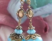 From the Boudoir of Marie Antoinette - Something Blue - Robin's Egg blue dangle earrings - One-of-a-kind handmade heirloom -