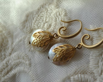 Elegant (bridal earrings) white coin pearls and leave filligree dangle earrings in matte gold plated brass