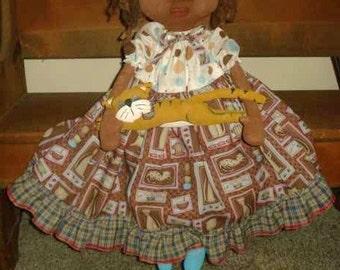 DOLL PATTERN Black Folk Art Doll and Tabby Cat Raggedydays NEW