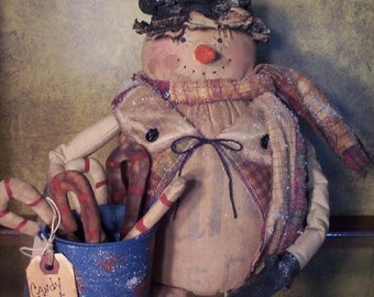 PRIMITIVE SNOWMAN PATTERN, 26 inch and Candy Cane Pattern #103 Mr. Frosty, New Raggedydays Original