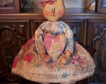 Primtive Folk Art BUNNY Doll PATTERN with Quilted Heart and Shoes 104 Honey Bunny Raggedydays New
