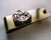 Steampunk money clip,  vintage brass money clip for men, groom gift, brass money clip, steampunk gift for men, vintage watch, fantasy