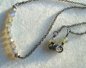 Labradorite Necklace Gray Blue Faceted Semi-Precious Pure and Simple on Chain