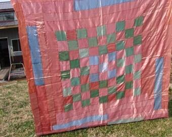 Vintage Satin Fabric Patchwork Quilt Top for Repurposing or Repair