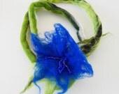 Royal blue and green felt flower choker, statment felted lariat necklace, green lime leaf, short neckpiece, bracelet, autumn