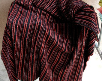 Vintage Woven Fabric Black and Red Woven Knit Yardage Wool Blend