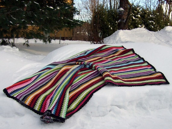 One-of-a-kind Crocheted Cotton Granny Goes Striped Blanket - Made in Finland - FREE SHIPPING