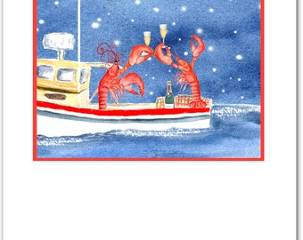 Celebrating Lobsters Christmas cards. set of 10. boxed set. nautical Christmas. coastal card.red  lobster