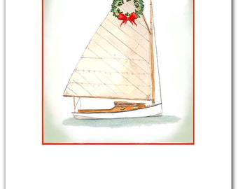 Catboat Christmas cards. 10 per box, Catboat cards watercolor,Nautical Christmas cards.sailor's gift, classic boat card, catboat gift,