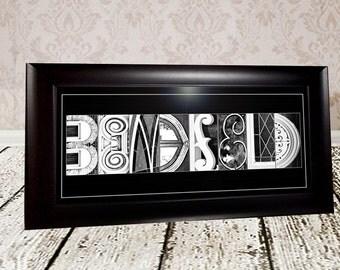 FRAMED10x20 Custom Name Print - Alphabet Photo Letter Art - Letter Photography