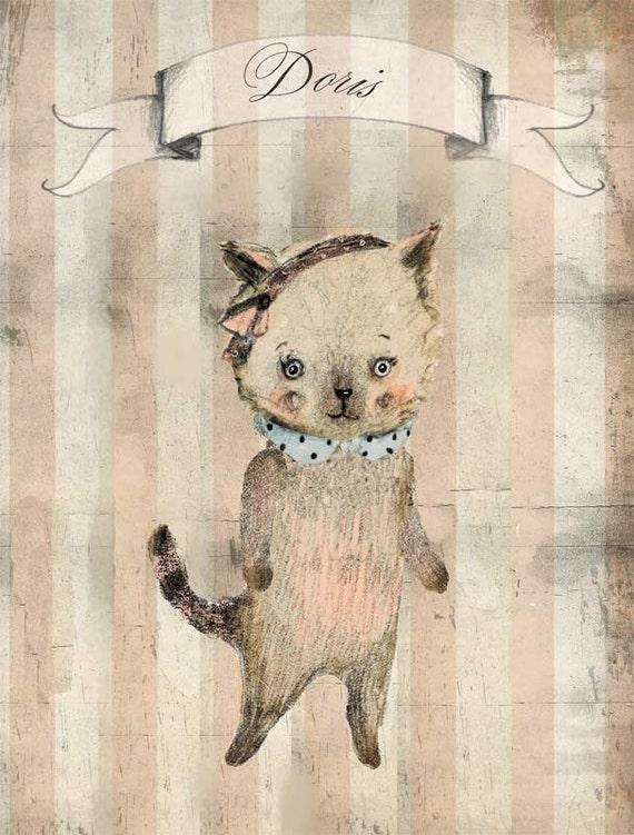 Cat Doris - Print - 6x8 inches - Nursery art - Nursery decor - Kids room decor - Children's art - Children's wall art - kids wall art
