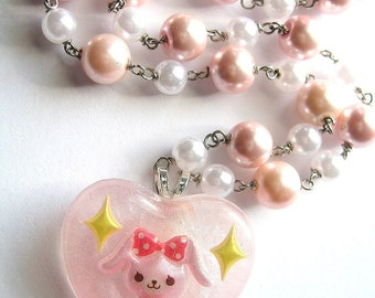 Pearl Bunny Necklace, Rabbit Heart Pendant, Pink Kawaii Resin, Wire Wrapped
