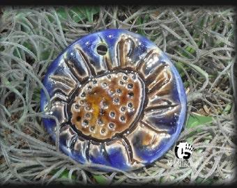 Sunflower Handcarved Stoneware Pendant