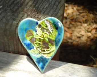 Heart Shaped Sea Turtle Stoneware Pendant
